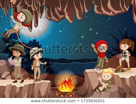 Grupo cena ilustração água grama crianças Foto stock © bluering