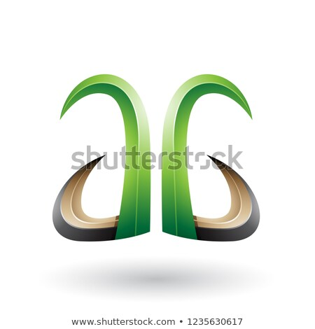 Green and Black 3d Horn Like Letter A and G Vector Illustration Stock photo © cidepix