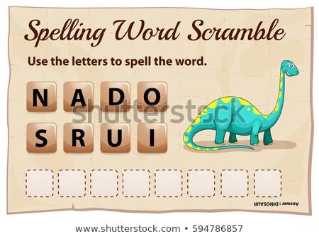 ortografia · palavra · jogo · dinossauro · ilustração · fundo - foto stock © colematt