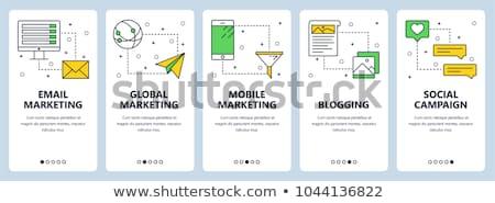 Stock photo: Social media marketing - modern line design style web banner
