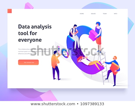 office workplace   modern vector colorful isometric illustration stock photo © decorwithme