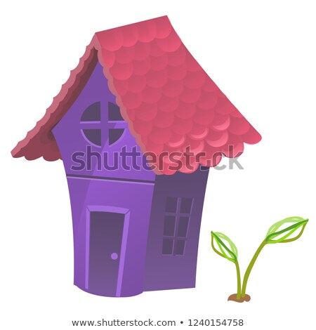 Compact fabulous purple house with pink roof isolated on white background. Vector cartoon close-up i Stock photo © Lady-Luck