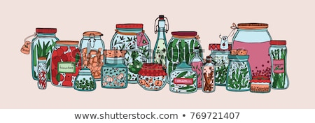 preserved food banners set of fruits or vegetables stock photo © robuart