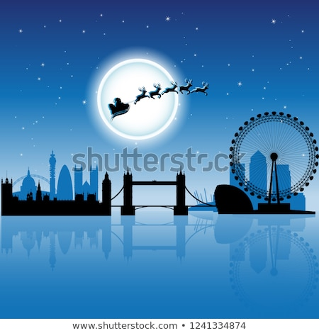 Santa In London over Magenta Night Sky Vector Illustration Stock photo © cidepix