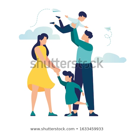 family of mother father and daughter isolated stock photo © robuart