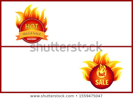 Mega Sale Burning Labels with Info About Discounts Stock photo © robuart