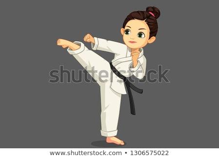 Desenho animado sorridente karatê menina Foto stock © cthoman