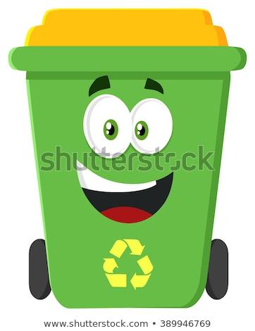 Happy Green Recycle Bin Cartoon Character Modern Flat Design Stock photo © hittoon