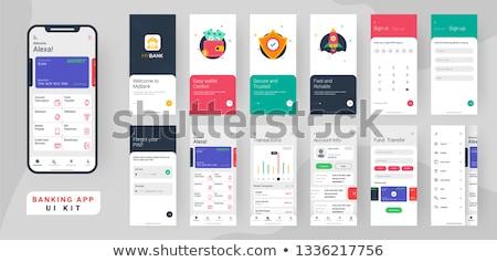 Sociale verzekering app interface sjabloon individuen Stockfoto © RAStudio