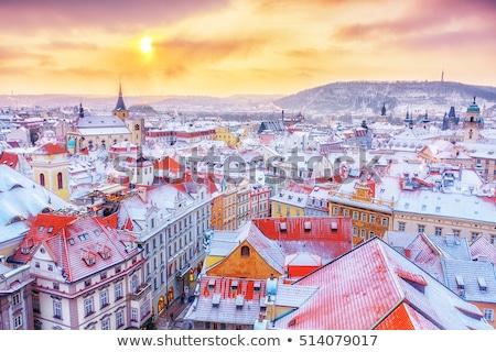 winter · zonsondergang · stad · huis · gebouw · zon - stockfoto © benkrut