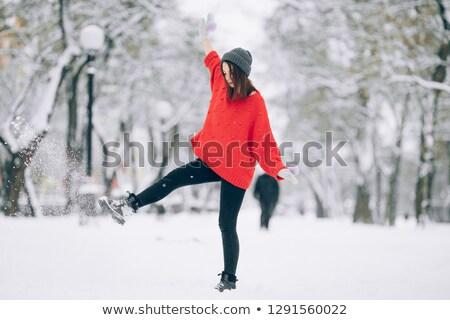 довольно девушки ходьбы улице красный свитер Сток-фото © Stasia04