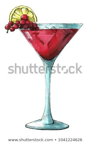 Сток-фото: эскиз · коктейль · изолированный · белый · иллюстрация