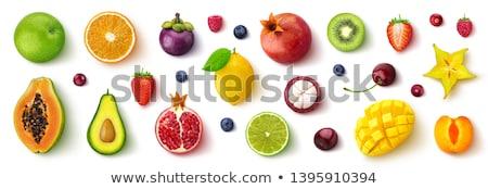 Foto stock: Frutas · establecer · ilustración · grupo · frutas · fresa