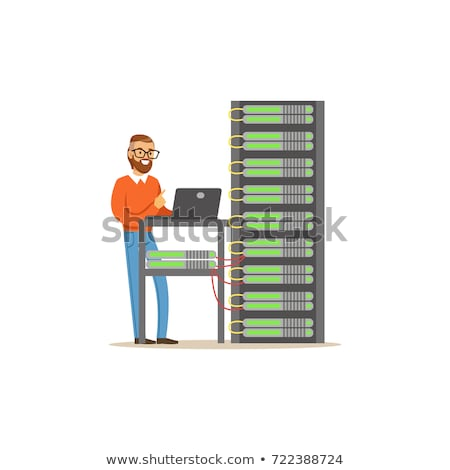 System administrator working on laptop and server racks vector illustration. Stock photo © RAStudio