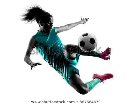 Woman with football isolated on white Stock photo © Elnur