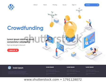 Isometric flat vector landing page template of crowdfunding, investing in idea. Stock photo © TarikVision