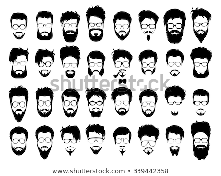 Set of simple black vector mustache silhouettes in flat style Stock photo © Pravokrugulnik