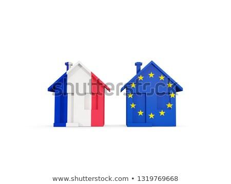 Dwa domów flagi Francja eu odizolowany Zdjęcia stock © MikhailMishchenko