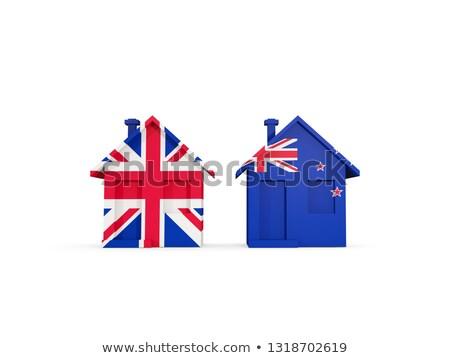 Iki evler bayraklar Büyük Britanya Yeni Zelanda yalıtılmış Stok fotoğraf © MikhailMishchenko