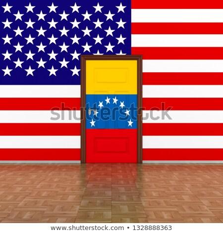 Stock fotó: Zászló · Venezuela · USA · fal · ajtó · 3d · illusztráció