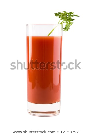 Three Bloody Mary with ice cubes with celery isolated on white Stock photo © dla4