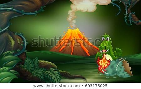 Forest scene with dragon hatching egg Stock photo © colematt