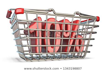çelik · alışveriş · sepeti · 80 · yüzde · imzalamak · 3D - stok fotoğraf © djmilic