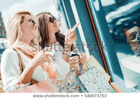 Stok fotoğraf: Kadın · içecekler · şehir · satış