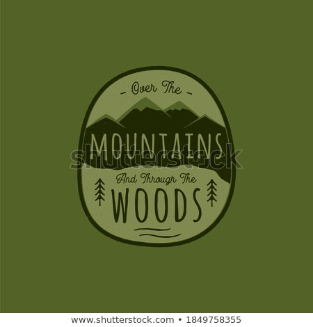 Dessinés à la main aventure logo montagne pin arbres Photo stock © JeksonGraphics