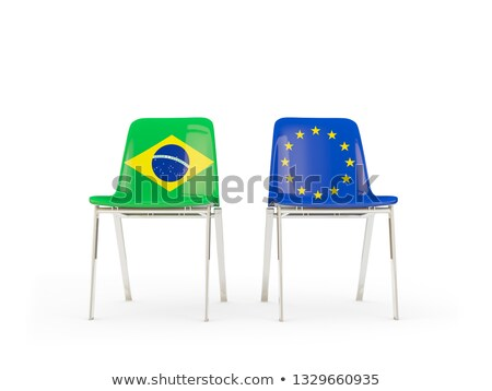 Two chairs with flags of Brazil and european union Stock photo © MikhailMishchenko