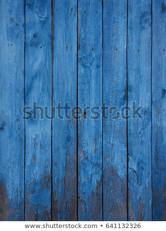 Stockfoto: Old Weathered Light Blue Painted Fence Close Up