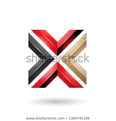 red black and beige square shaped letter x vector illustration stock photo © cidepix