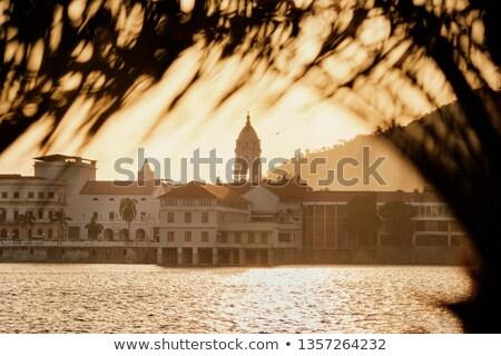 Panama zonsondergang pittoreske oude gebouwen Stockfoto © diego_cervo