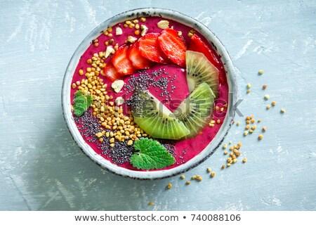 smoothie · kommen · gezonde · ontbijt · kom · Blauw - stockfoto © illia