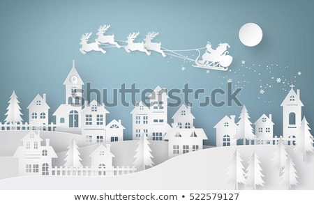 Merry Christmas Paper Cut Greeting Card, Winter Stock photo © robuart