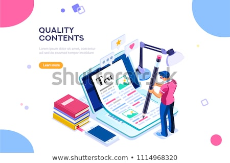 Flat isometric vector concept of content creating, copywriting, creative writing Stock photo © TarikVision