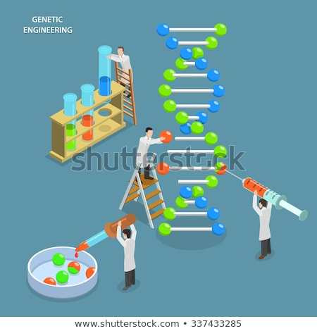 Foto stock: Isometric Flat Vector Concept Of Genetic Engineering Dna Structure Changing