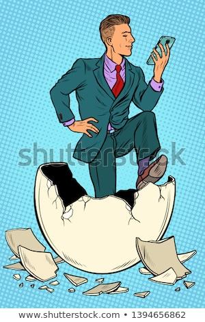 Geschäftsmann geboren Ei News Smartphone Pop-Art Stock foto © studiostoks