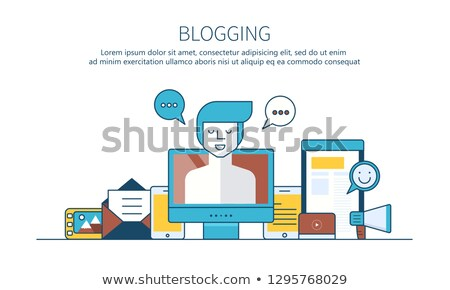 writing a story or column for newspaper or magazine blogging outline concept flat vector illustrat stock photo © makyzz