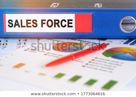 Dobrador etiqueta de vendas negócio escritório secretária Foto stock © Zerbor