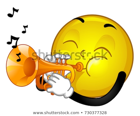 Mascot Smiley Trumpet Illustration Stock photo © lenm