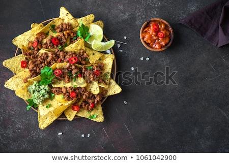 Meksika mısır baharatlı cips hizmet Stok fotoğraf © dash