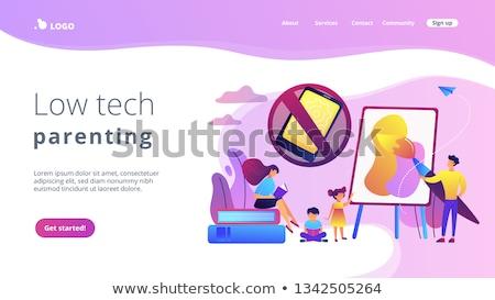 Alacsony tech gyereknevelés leszállás oldal pici Stock fotó © RAStudio