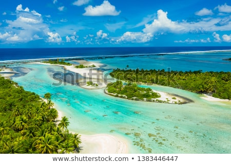 Rangiroa aerial image of atoll island reef motu in French Polynesia Tahiti Stock photo © Maridav