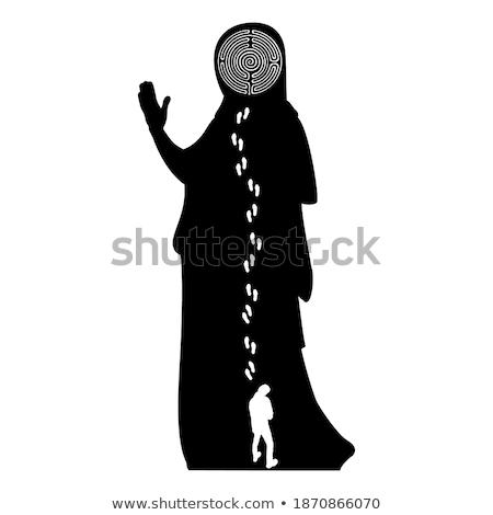 Személy áll kör lépés sziluett vektor Stock fotó © robuart