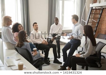 Vezető emberek megafon 3D kép fehér Stock fotó © AlexMas