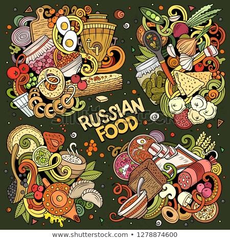 Colorful vector hand drawn doodles cartoon set of Russian food combinations Stock photo © balabolka