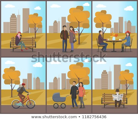 Autumn Period City Park and Trees Fall Set Vector Stock photo © robuart