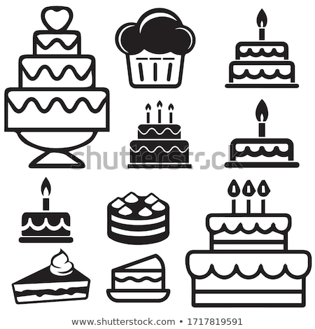 Cake Icon on a Pink Background Vector Illustration Stock photo © cidepix