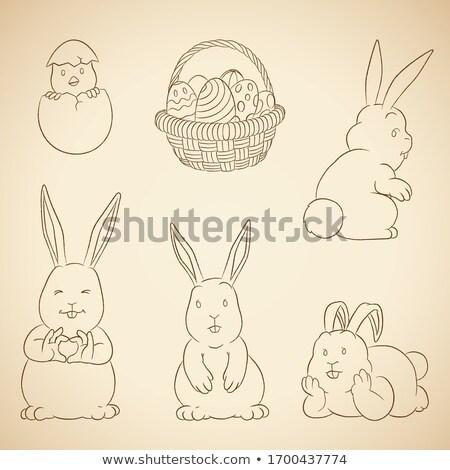 Carvão vegetal vetor desenhos Páscoa ovos cesta Foto stock © cidepix